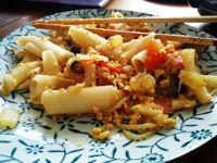 Pasta de arroz estilo tai