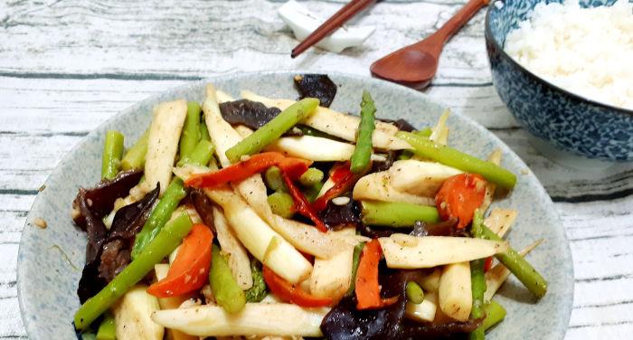 Receta verduras fritas con setas chinas